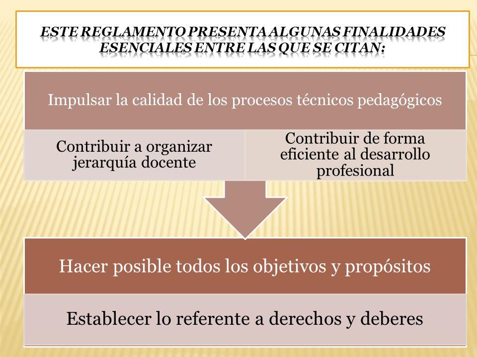 Hacer posible todos los objetivos y propósitos Establecer lo referente a derechos y deberes Impulsar la calidad de los procesos técnicos pedagógicos C