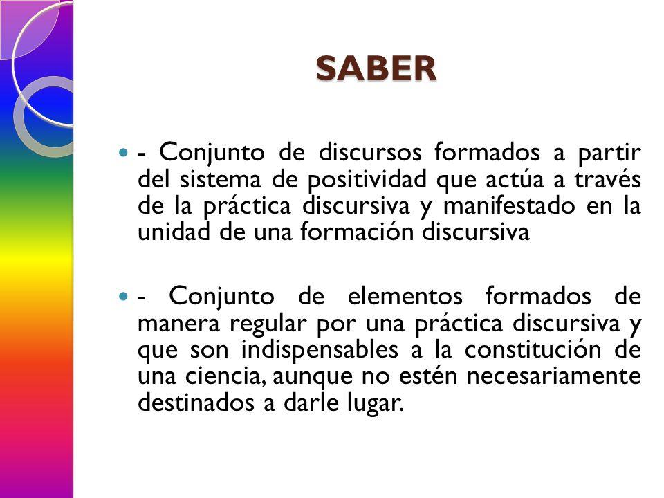 SABER - Conjunto de discursos formados a partir del sistema de positividad que actúa a través de la práctica discursiva y manifestado en la unidad de