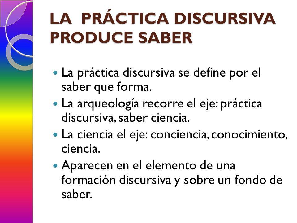 LA PRÁCTICA DISCURSIVA PRODUCE SABER La práctica discursiva se define por el saber que forma. La arqueología recorre el eje: práctica discursiva, sabe
