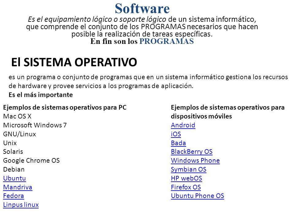 Software Es el equipamiento lógico o soporte lógico de un sistema informático, que comprende el conjunto de los PROGRAMAS necesarios que hacen posible