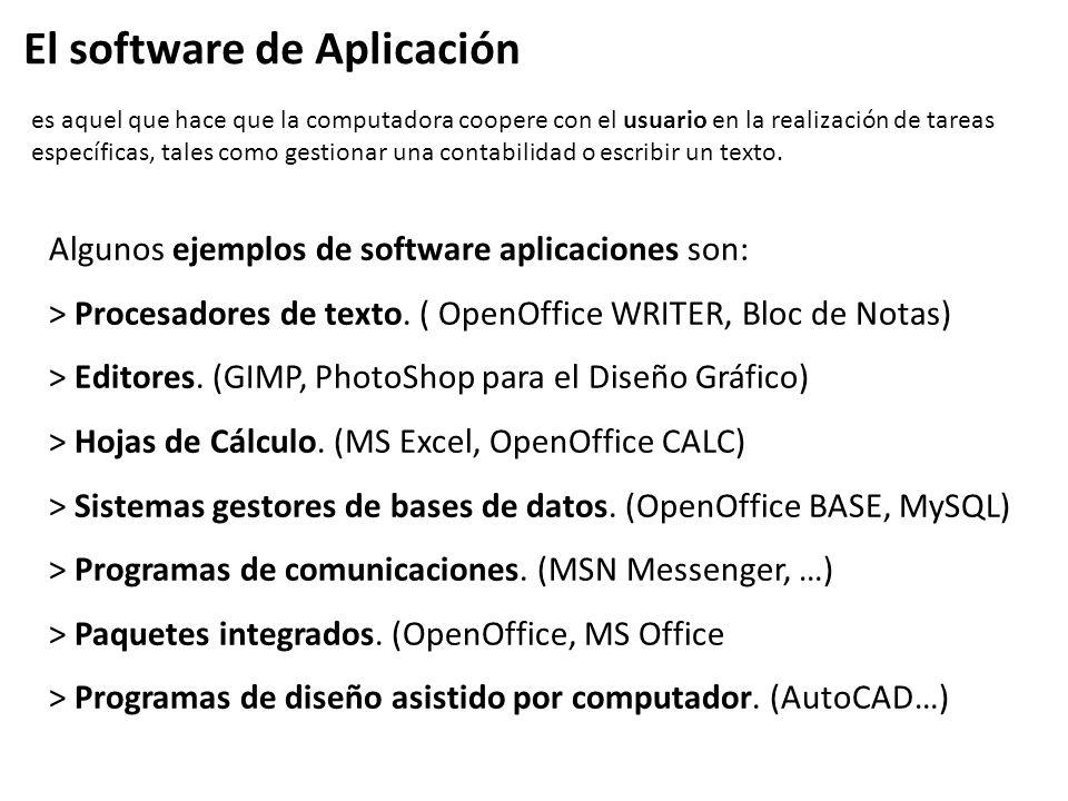 Algunos ejemplos de software aplicaciones son: > Procesadores de texto. ( OpenOffice WRITER, Bloc de Notas) > Editores. (GIMP, PhotoShop para el Diseñ