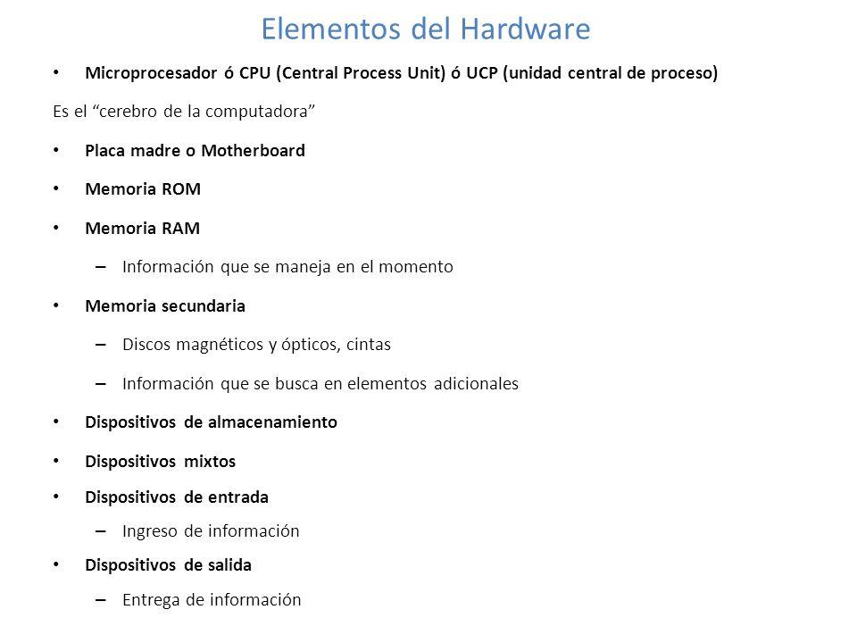 Elementos del Hardware Microprocesador ó CPU (Central Process Unit) ó UCP (unidad central de proceso) Es el cerebro de la computadora Placa madre o Mo