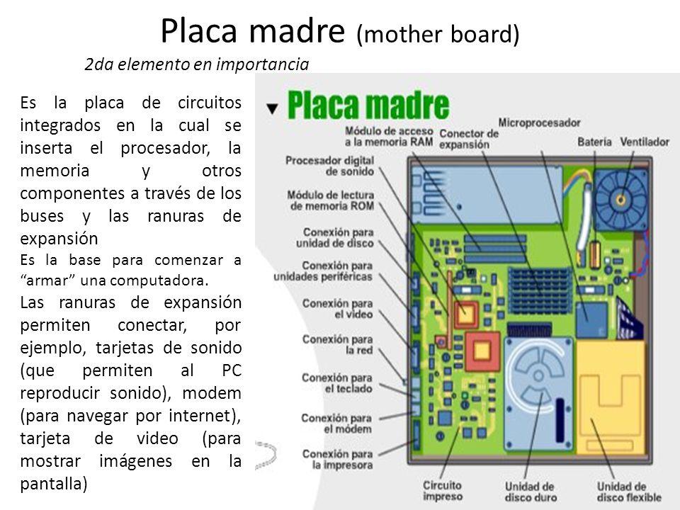 Placa madre (mother board) 2da elemento en importancia Es la placa de circuitos integrados en la cual se inserta el procesador, la memoria y otros com