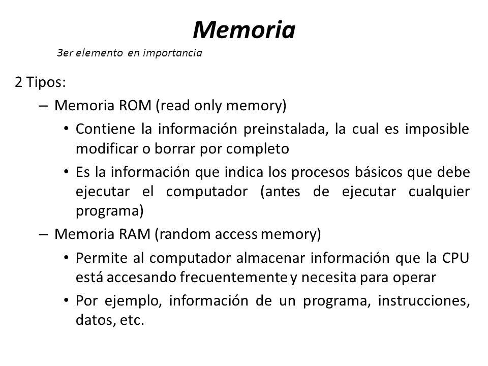 2 Tipos: – Memoria ROM (read only memory) Contiene la información preinstalada, la cual es imposible modificar o borrar por completo Es la información