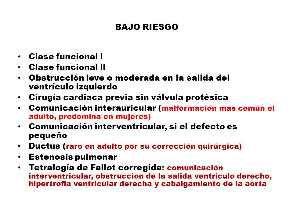 BAJO RIESGO Clase funcional l Clase funcional ll Obstrucción leve o moderada en la salida del ventrículo izquierdo Cirugía cardiaca previa sin válvula