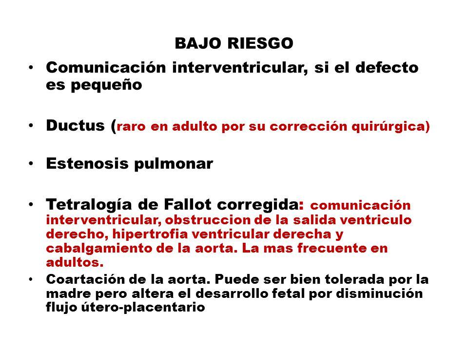 BAJO RIESGO Comunicación interventricular, si el defecto es pequeño Ductus ( raro en adulto por su corrección quirúrgica) Estenosis pulmonar Tetralogí
