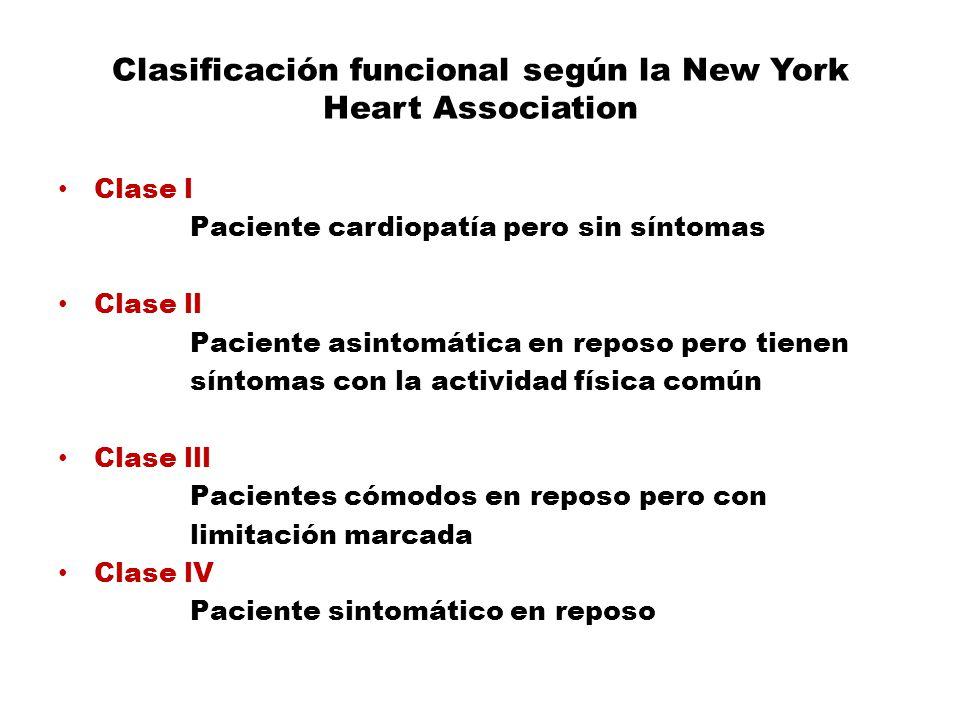 Clasificación funcional según la New York Heart Association Clase l Paciente cardiopatía pero sin síntomas Clase ll Paciente asintomática en reposo pe