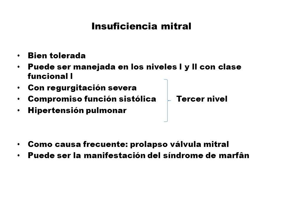 Insuficiencia mitral Bien tolerada Puede ser manejada en los niveles l y ll con clase funcional l Con regurgitación severa Compromiso función sistólic