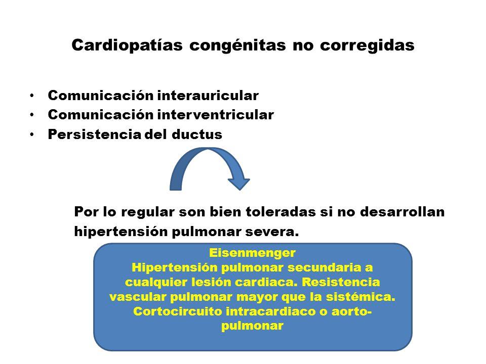 Cardiopatías congénitas no corregidas Comunicación interauricular Comunicación interventricular Persistencia del ductus Por lo regular son bien tolera
