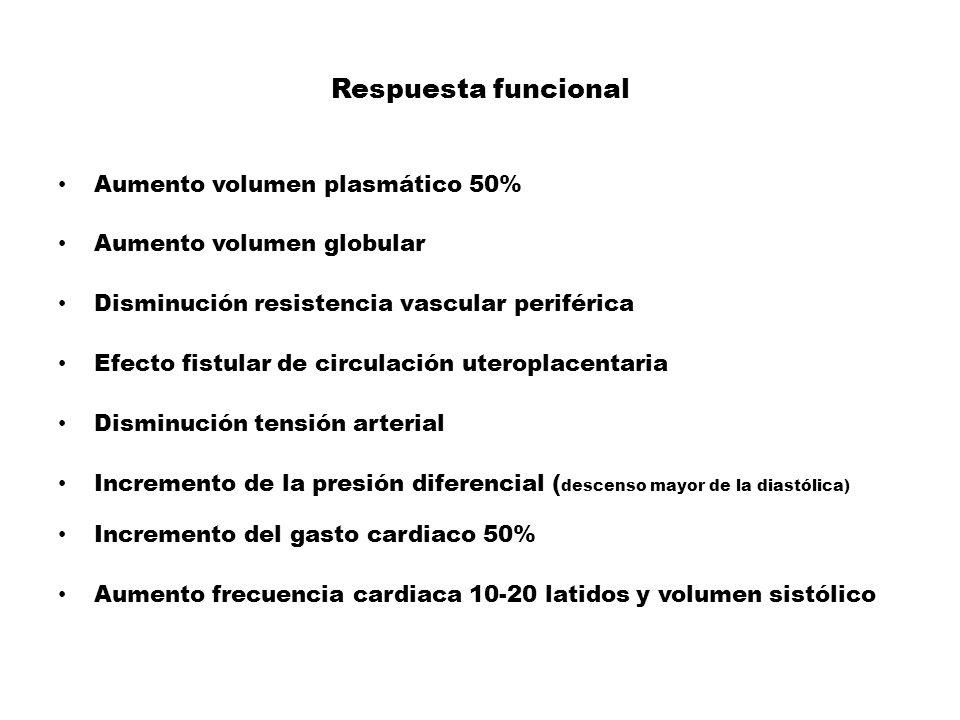 Respuesta funcional Aumento volumen plasmático 50% Aumento volumen globular Disminución resistencia vascular periférica Efecto fistular de circulación