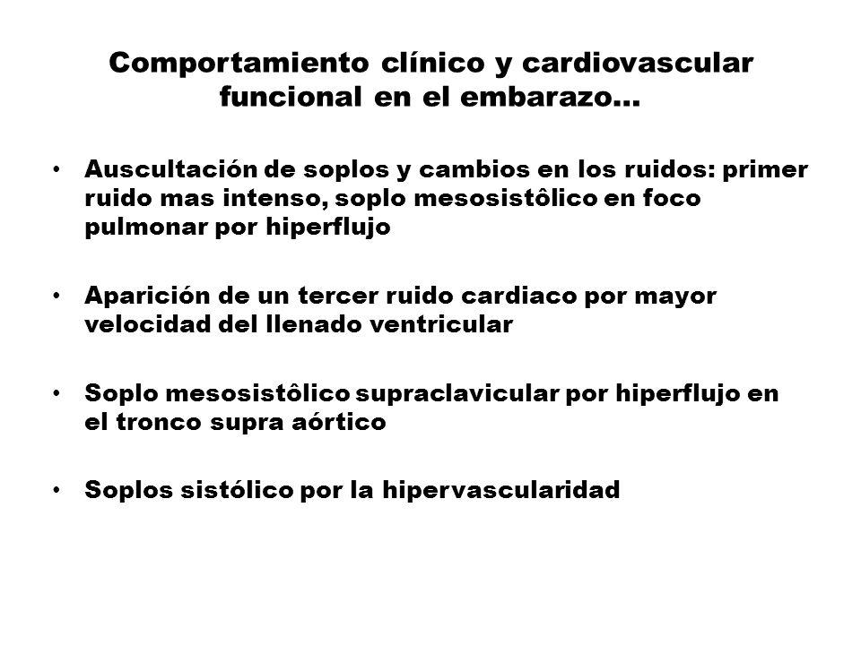 Comportamiento clínico y cardiovascular funcional en el embarazo… Auscultación de soplos y cambios en los ruidos: primer ruido mas intenso, soplo meso