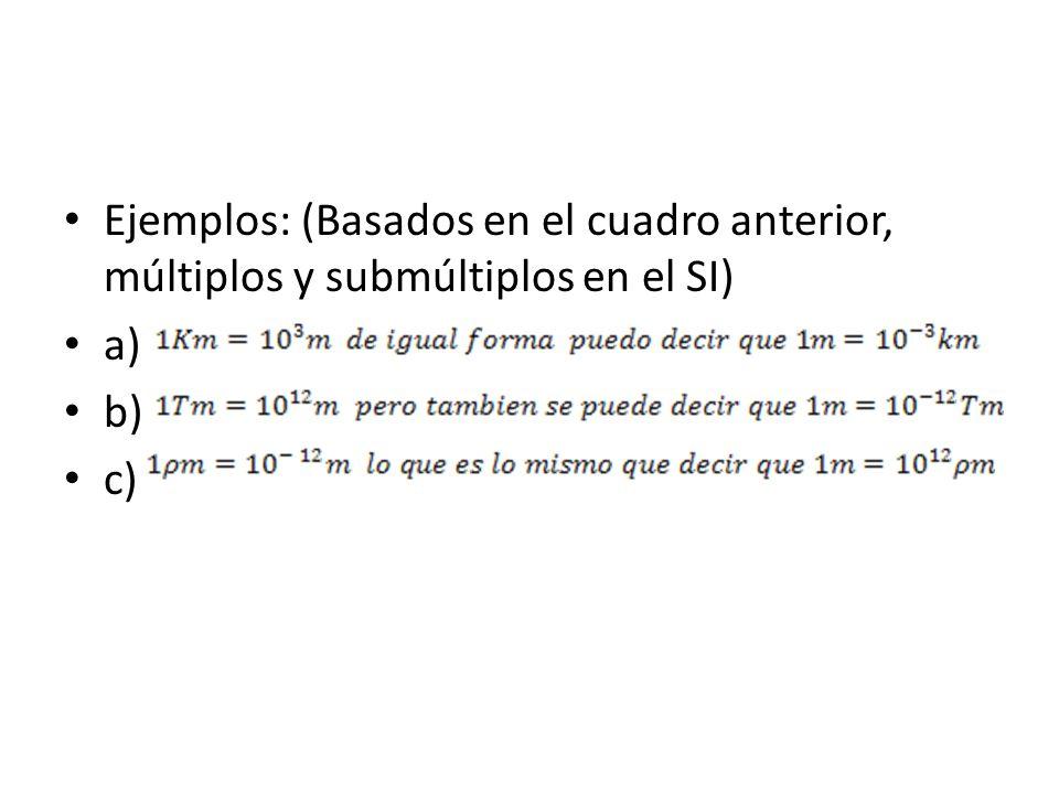 Ejemplos: (Basados en el cuadro anterior, múltiplos y submúltiplos en el SI) a) b) c)