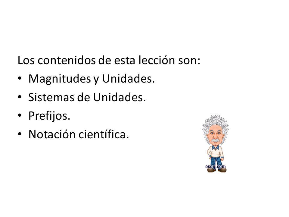 Los contenidos de esta lección son: Magnitudes y Unidades.