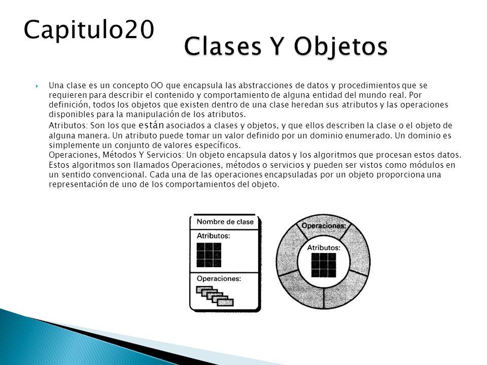 Una clase es un concepto OO que encapsula las abstracciones de datos y procedimientos que se requieren para describir el contenido y comportamiento de alguna entidad del mundo real.