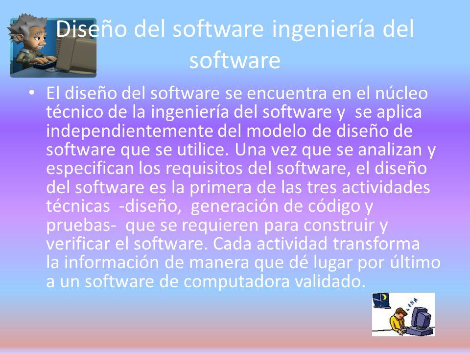Diseño del software ingeniería del software El diseño del software se encuentra en el núcleo técnico de la ingeniería del software y se aplica independientemente del modelo de diseño de software que se utilice.
