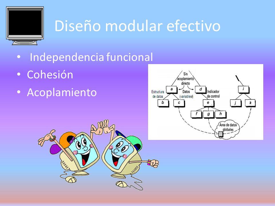 heurística del diseño para una modularidad efectiva Evaluar la «primera iteración» de la estructura de programa para reducir al acoplamiento y mejorar la cohesión.
