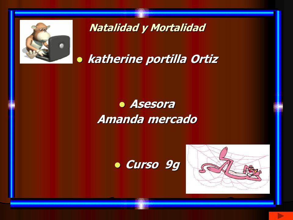 Natalidad y Mortalidad katherine portilla Ortiz katherine portilla Ortiz Asesora Asesora Amanda mercado Curso 9g Curso 9g