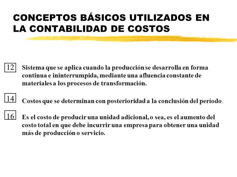 CONCEPTOS BÁSICOS UTILIZADOS EN LA CONTABILIDAD DE COSTOS Es la suma de la mano de obra directa más costos indirectos que intervienen en la transforma