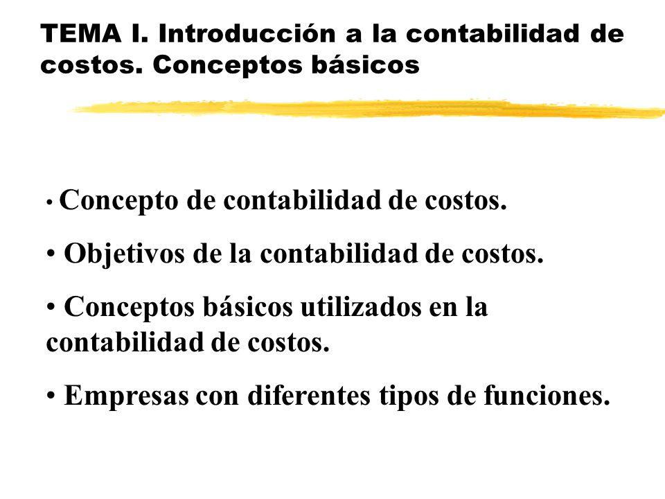CONTABILIDAD DE COSTOS TEMAS DEL CURSO: I. Introducción a la contabilidad de costos. Conceptos básicos. II. Mecánica contable para determinar el costo
