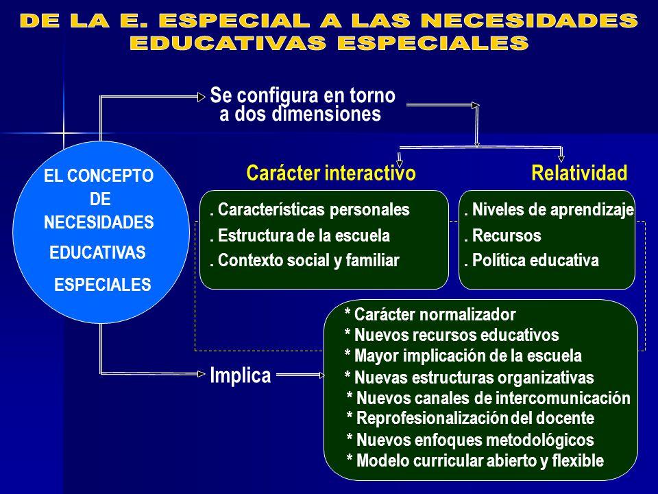 EL CONCEPTO DE NECESIDADES EDUCATIVAS ESPECIALES Se configura en torno a dos dimensiones Implica Carácter interactivoRelatividad.