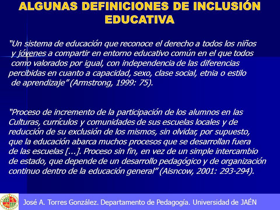 Un sistema de educación que reconoce el derecho a todos los niños y jóvenes a compartir en entorno educativo común en el que todos como valorados por igual, con independencia de las diferencias percibidas en cuanto a capacidad, sexo, clase social, etnia o estilo de aprendizaje (Armstrong, 1999: 75).