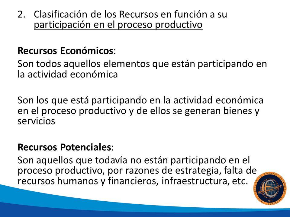 2.Clasificación de los Recursos en función a su participación en el proceso productivo Recursos Económicos: Son todos aquellos elementos que están par
