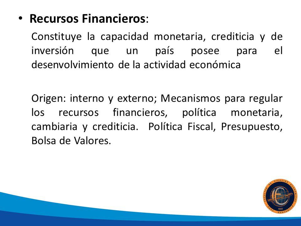 Recursos Financieros: Constituye la capacidad monetaria, crediticia y de inversión que un país posee para el desenvolvimiento de la actividad económica Origen: interno y externo; Mecanismos para regular los recursos financieros, política monetaria, cambiaria y crediticia.