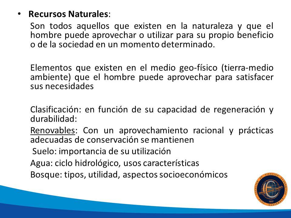 Recursos Naturales: Son todos aquellos que existen en la naturaleza y que el hombre puede aprovechar o utilizar para su propio beneficio o de la socie
