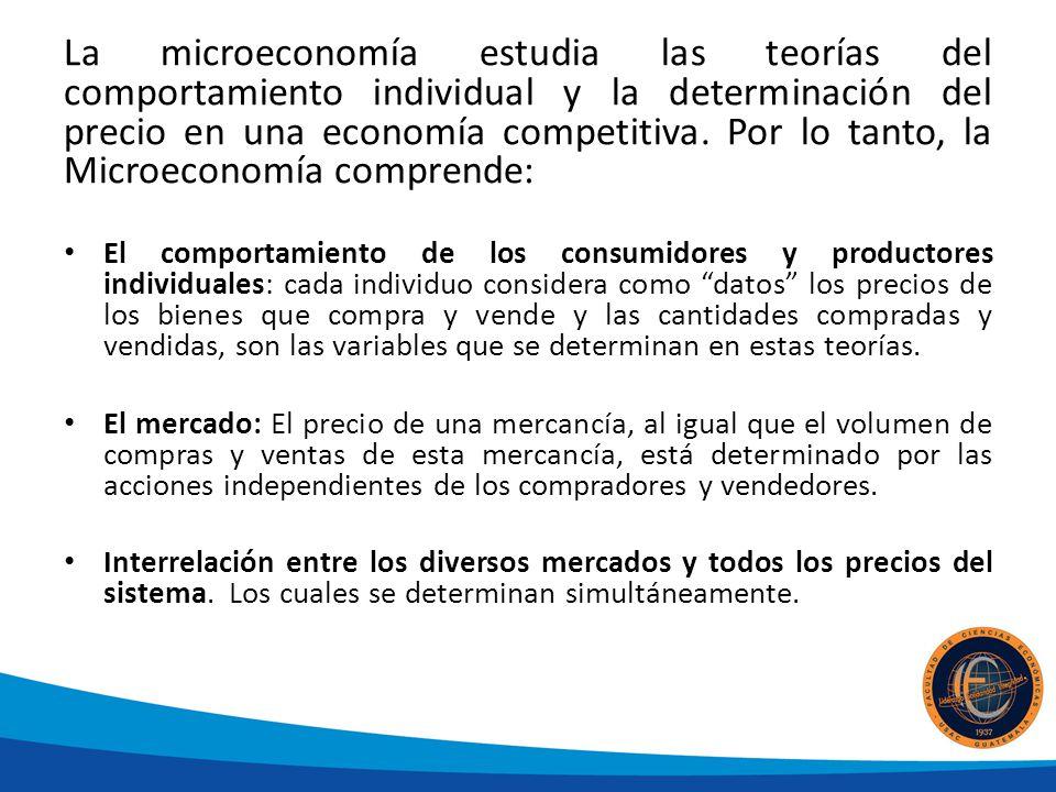 La microeconomía estudia las teorías del comportamiento individual y la determinación del precio en una economía competitiva. Por lo tanto, la Microec