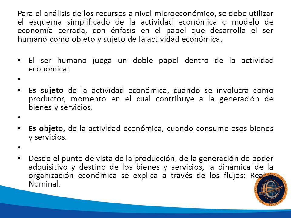 Para el análisis de los recursos a nivel microeconómico, se debe utilizar el esquema simplificado de la actividad económica o modelo de economía cerra