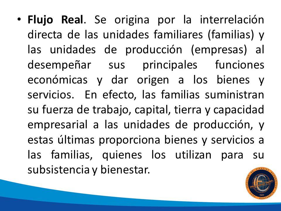 Flujo Real. Se origina por la interrelación directa de las unidades familiares (familias) y las unidades de producción (empresas) al desempeñar sus pr