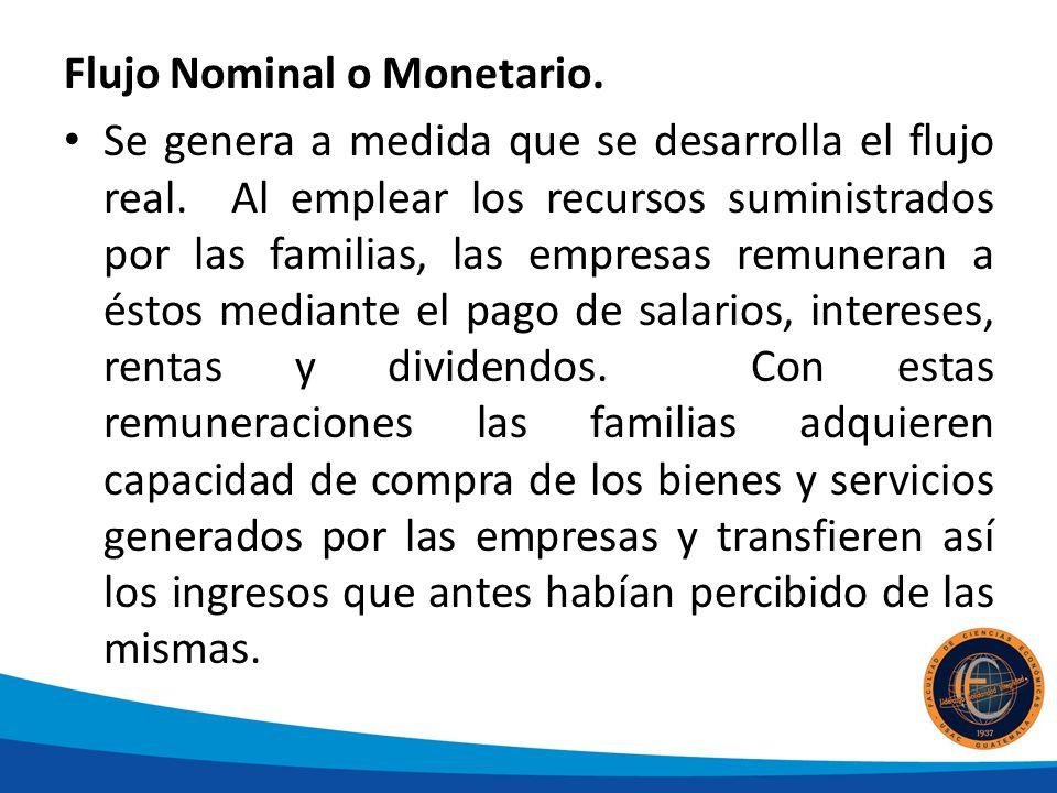 Flujo Nominal o Monetario. Se genera a medida que se desarrolla el flujo real. Al emplear los recursos suministrados por las familias, las empresas re