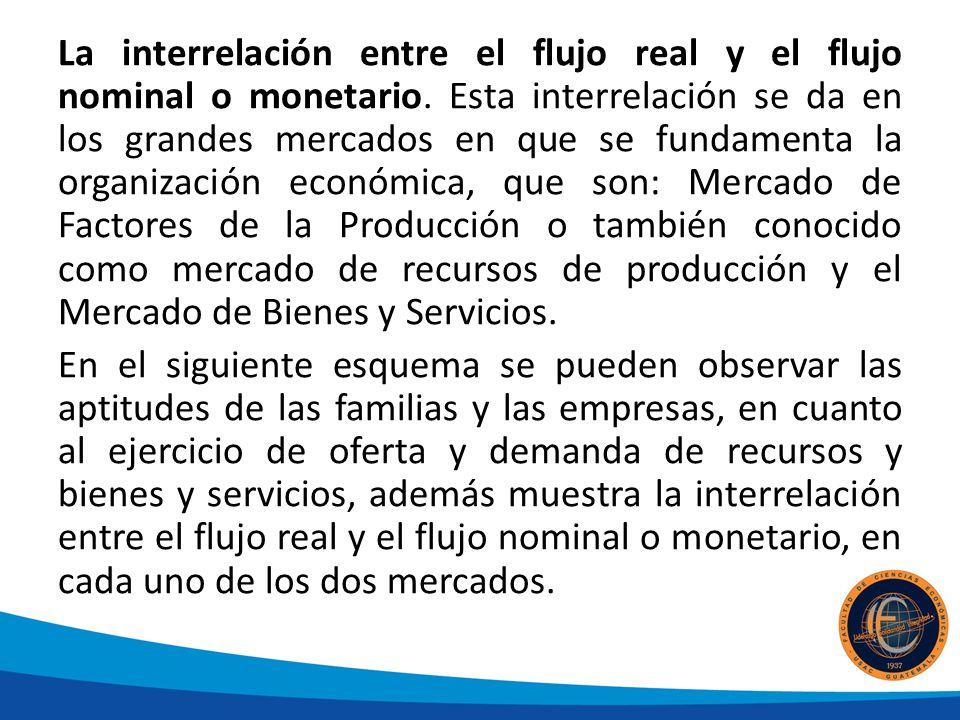 La interrelación entre el flujo real y el flujo nominal o monetario. Esta interrelación se da en los grandes mercados en que se fundamenta la organiza