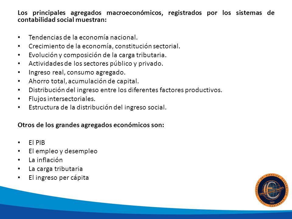 Los principales agregados macroeconómicos, registrados por los sistemas de contabilidad social muestran: Tendencias de la economía nacional.
