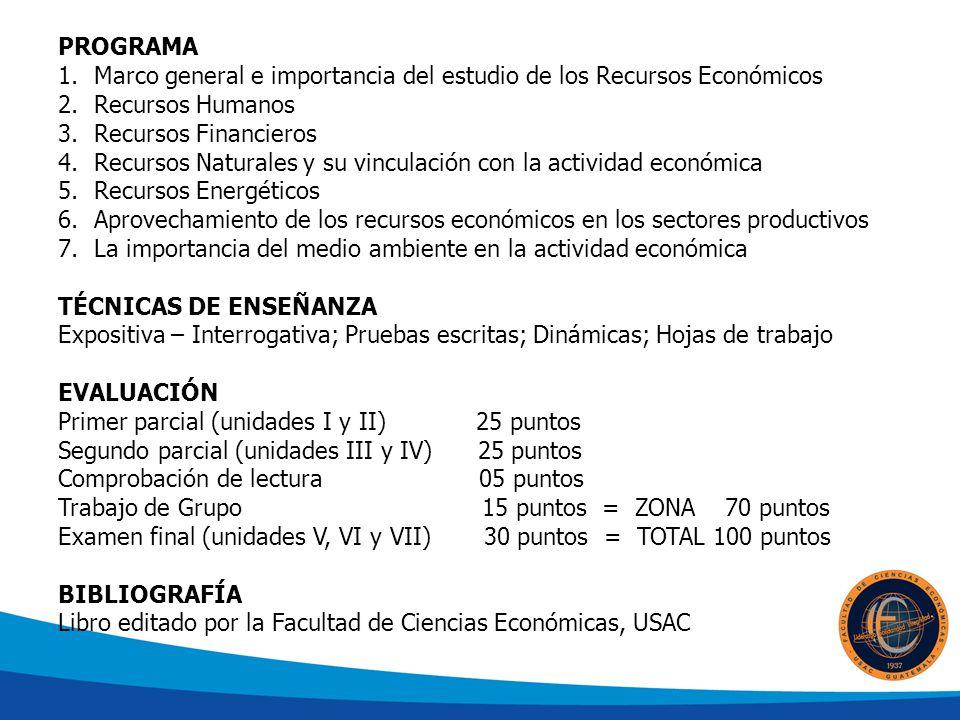 PROGRAMA 1.Marco general e importancia del estudio de los Recursos Económicos 2.Recursos Humanos 3.Recursos Financieros 4.Recursos Naturales y su vinculación con la actividad económica 5.Recursos Energéticos 6.Aprovechamiento de los recursos económicos en los sectores productivos 7.La importancia del medio ambiente en la actividad económica TÉCNICAS DE ENSEÑANZA Expositiva – Interrogativa; Pruebas escritas; Dinámicas; Hojas de trabajo EVALUACIÓN Primer parcial (unidades I y II) 25 puntos Segundo parcial (unidades III y IV) 25 puntos Comprobación de lectura 05 puntos Trabajo de Grupo 15 puntos = ZONA 70 puntos Examen final (unidades V, VI y VII) 30 puntos = TOTAL 100 puntos BIBLIOGRAFÍA Libro editado por la Facultad de Ciencias Económicas, USAC