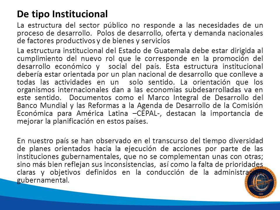 De tipo Institucional La estructura del sector público no responde a las necesidades de un proceso de desarrollo. Polos de desarrollo, oferta y demand