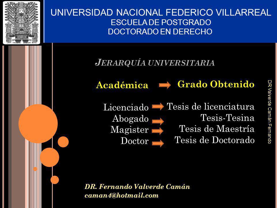 J ERARQUÍA UNIVERSITARIA DR. Fernando Valverde Camán caman4@hotmail.com UNIVERSIDAD NACIONAL FEDERICO VILLARREAL ESCUELA DE POSTGRADO DOCTORADO EN DER