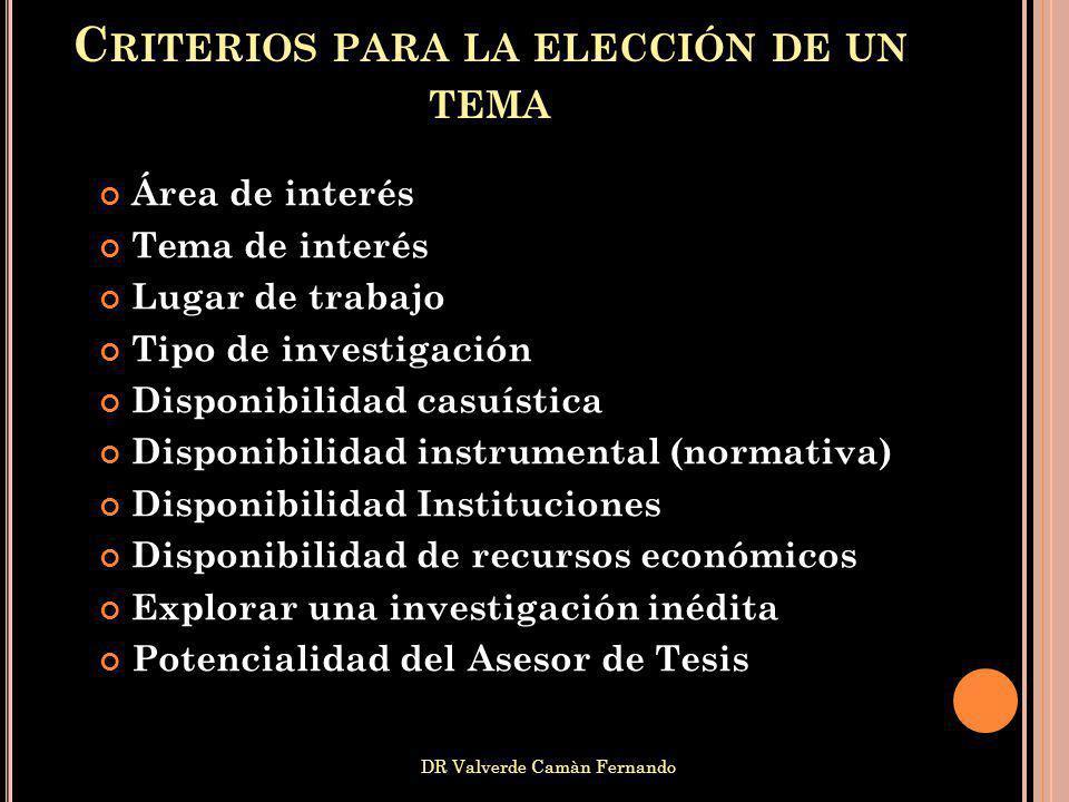 DR Valverde Camàn Fernando Área de interés Tema de interés Lugar de trabajo Tipo de investigación Disponibilidad casuística Disponibilidad instrumenta