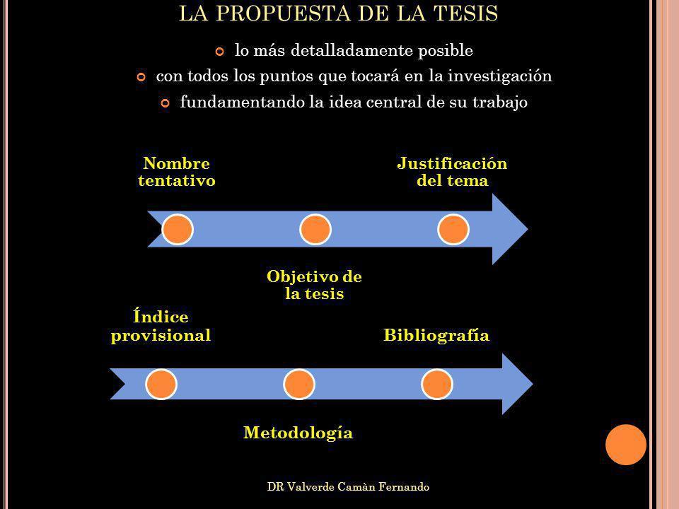 DR Valverde Camàn Fernando lo más detalladamente posible con todos los puntos que tocará en la investigación fundamentando la idea central de su traba