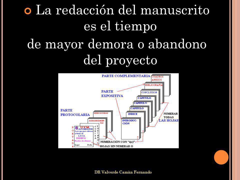 DR Valverde Camàn Fernando La redacción del manuscrito es el tiempo de mayor demora o abandono del proyecto práctico), tratando de darle un cuerpo a t