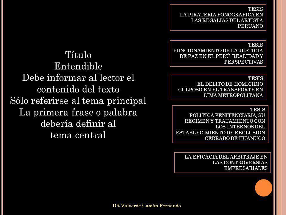 DR Valverde Camàn Fernando Título Entendible Debe informar al lector el contenido del texto Sólo referirse al tema principal La primera frase o palabr
