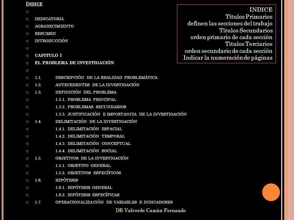 DR Valverde Camàn Fernando ÍNDICE DEDICATORIA AGRADECIMIENTO RESUMEN INTRODUCCIÓN CAPITULO I EL PROBLEMA DE INVESTIGACIÓN 1.1. DESCRIPCIÓN DE LA REALI
