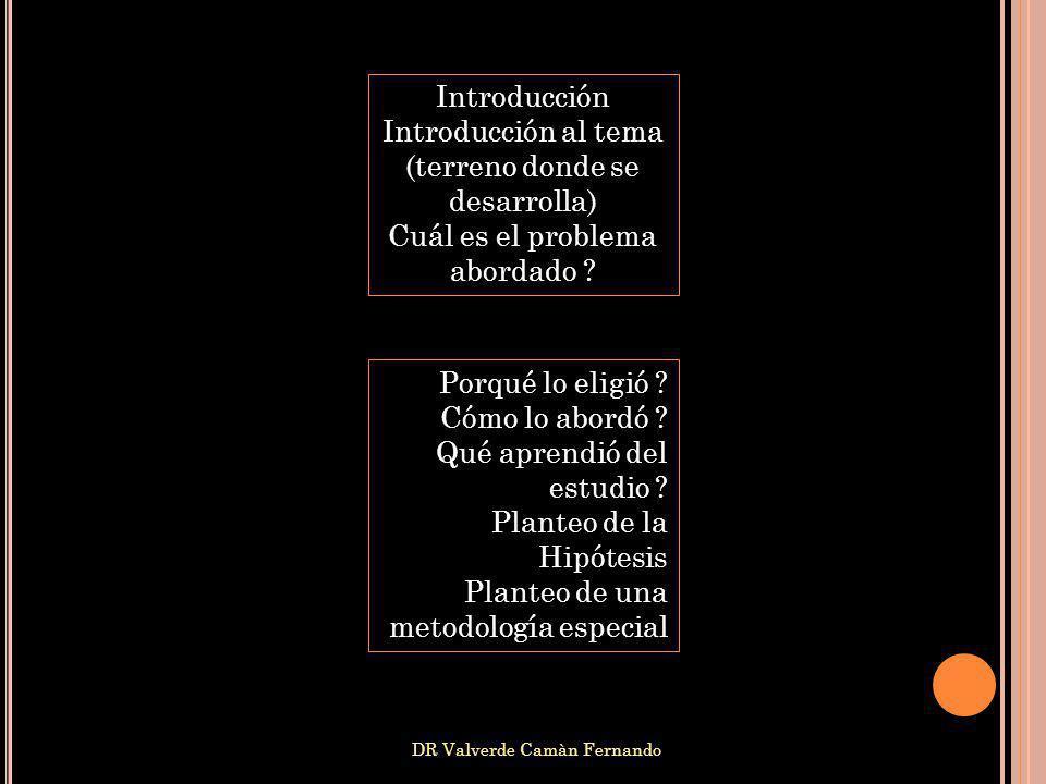 DR Valverde Camàn Fernando Introducción Introducción al tema (terreno donde se desarrolla) Cuál es el problema abordado ? Porqué lo eligió ? Cómo lo a