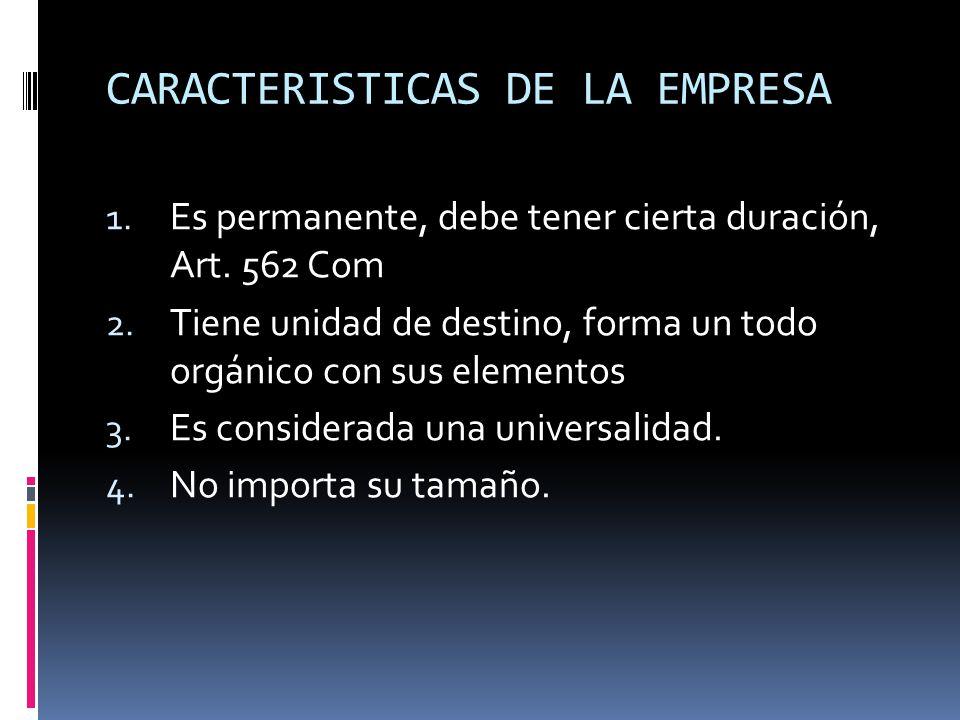 La empresa es una cosa mercantil, clasificada típicamente mercantil compuesta por una serie de requisitos: 1.