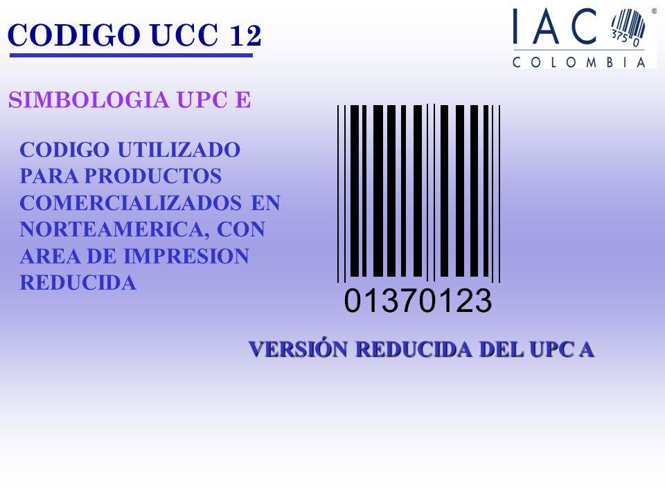 0 18123 45678 7 CODIGO UCC 12 CODIGO PRODUCTO CODIGO DE EMPRESA DIGITO DE CONTROL CODIGO UTILIZADO PARA IDENTIFICAR PRODUCTOS COMERCIALIZADOS EN NORTE