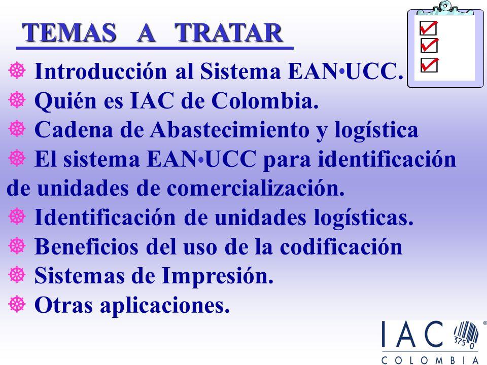 IAC: Identificar los beneficios que se obtienen al utilizar el sistema de identificación estándar EAN UCCOBJETIVOS Dar a conocer las características b