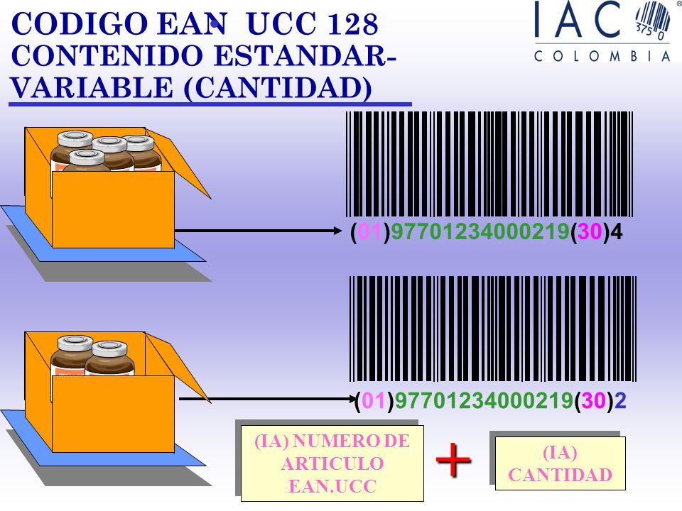 CODIGO EAN UCC 128 CONTENIDO FIJO -ESTANDAR ( 01 )27701234 567897 + ( IA) + NUMERO DE ARTICULO EAN UCC 14 ( 01)27701234 567897(10)427XA Identificación
