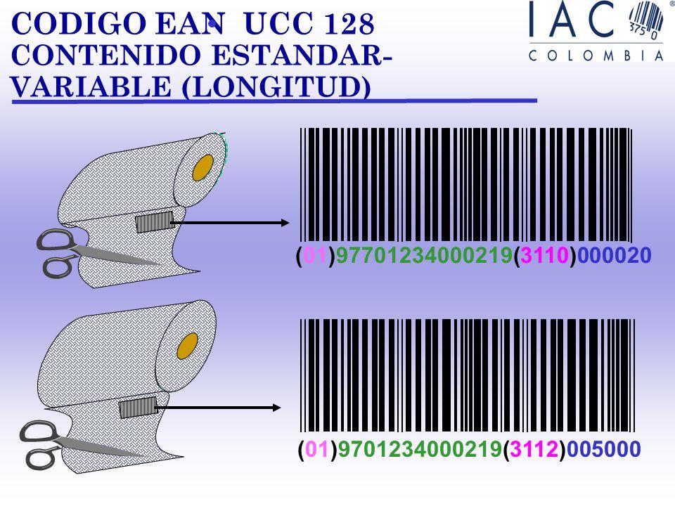 CODIGO EAN UCC 128 CONTENIDO ESTANDAR- VARIABLE (CANTIDAD) MAYONESA (01)97701234000219(30)4 (IA) NUMERO DE ARTICULO EAN.UCC (IA) CANTIDAD + (01)977012