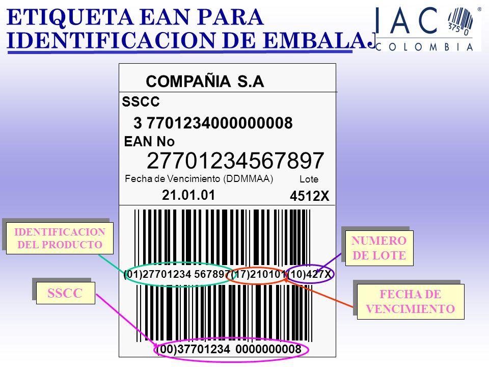 CODIGO SERIAL DE CONTENEDOR DE EMBARQUE (SSCC) (00) 3 7701234 000000000 4 7 (00) 3 7701234 000000000 3 2