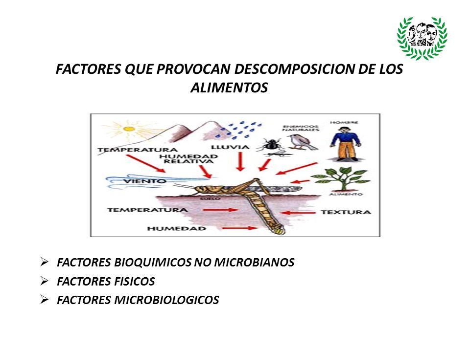FACTORES BIOQUIMICOS NO MICROBIANOS Estos son producidos por constituyentes del propio organismo (enzimas), y pueden ser o no perceptibles por el consumidor.